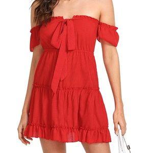 Dresses & Skirts - Red Off Shoulder Flowy Dress